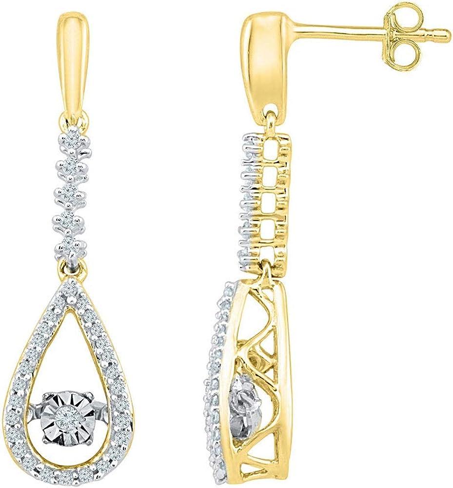 10kt Yellow Gold Round Diamond Moving Twinkle Teardrop Dangle Earrings 1/5 Cttw