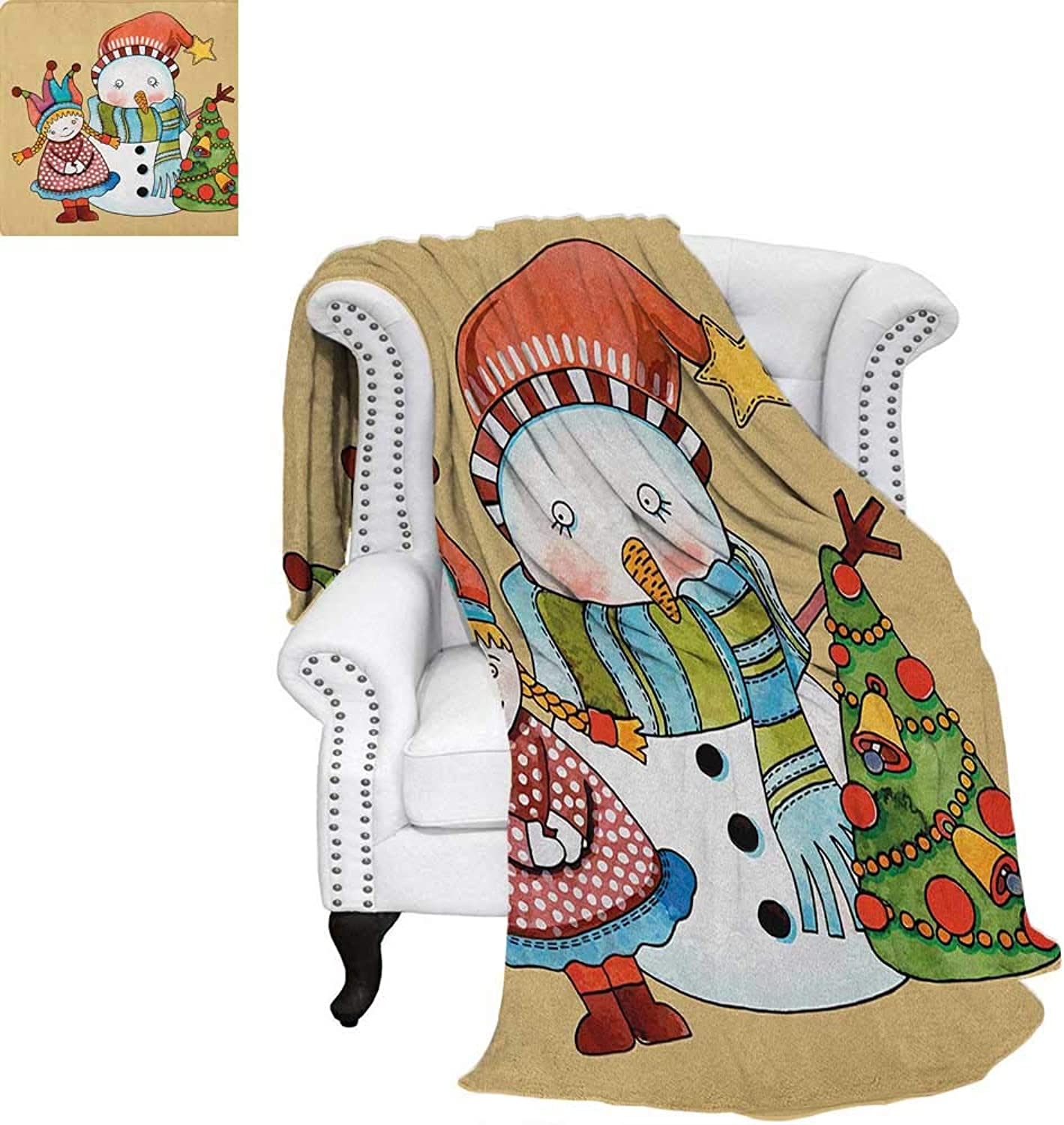 Christmassmall blanketCute Little Toy Girl Snowman and Xmas Tree in Watercolors Happy New Year Themethin Blanket 60 x50  Multicolor