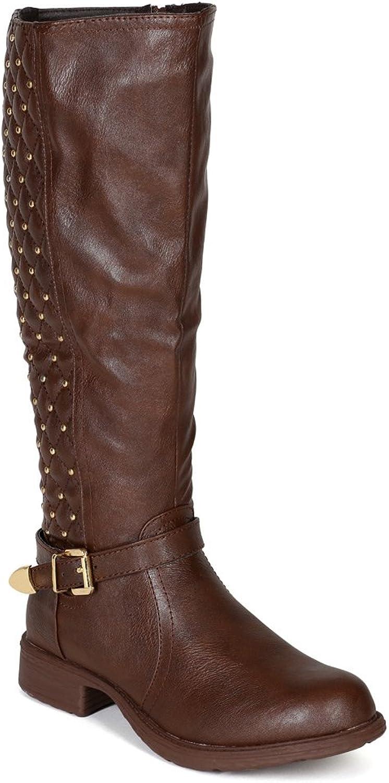 kvinnor kvinnor kvinnor lädertte Quilt Studs Strap Riding Calf High Boot BF71 - bspringaaa  het försäljning online