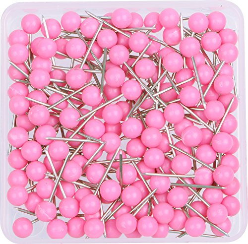 AnMiao Star 1/8 Inch Map Tacks, Push Pins, Plastic Round Head, Steel Point, 100-Count, Pink Colors
