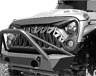 American Modified Front Shark Grille for 2007-2018 Jeep Wrangler JK/JKU Rubicon Sahara Sport, ABS (Matte Black)