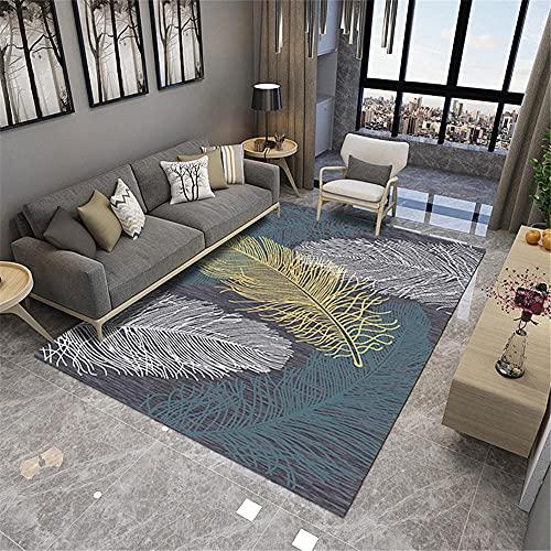 La alfombras Alfombra Dormitorio Juvenil Alfombra del balcón de la Sala de Estar del patrón de Plumas Simples Blanco Amarillo Azul Alfombra niña Alfombra Moderna 60*160cm