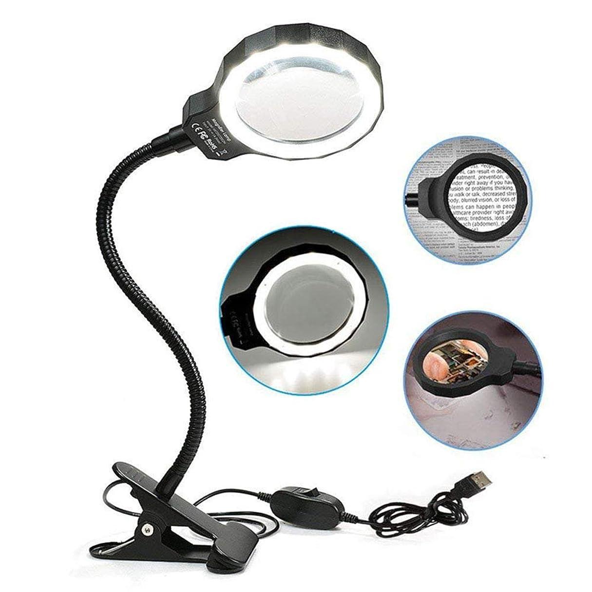 階層ビジネスボールLED 5X拡大鏡クランプランプ、昼光明るい照明付きレンズ-デスク、テーブル、クラフト、ジュエリー、縫製、黒用の調光可能、調整可能な色温度ユーティリティライト