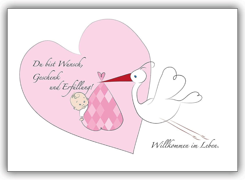 16 Babykarten (16er Set)  Süße Babykarte Mädchen Glückwunschkarte zur Geburt  Du bist Wunsch, Geschenk... B00VQJYUAU   Authentische Garantie