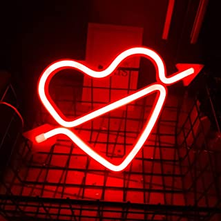 OSALADI Neon Light Sign Led Wall Light Heart Neon Signs with Base Love Neon Lights for Kids Room Party Bar Valentines Day ...