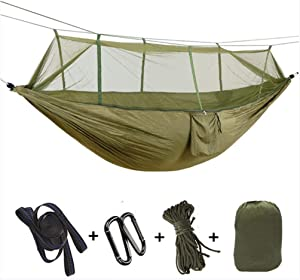 MINMINA Travel Insect-Proof Camping Hammock Carrying Capacity  300 200 Cm  Breathable Quick-Drying Parachute Nylon High-Grade Carabiner  Nylon Sling Outdoor Indoor Garden