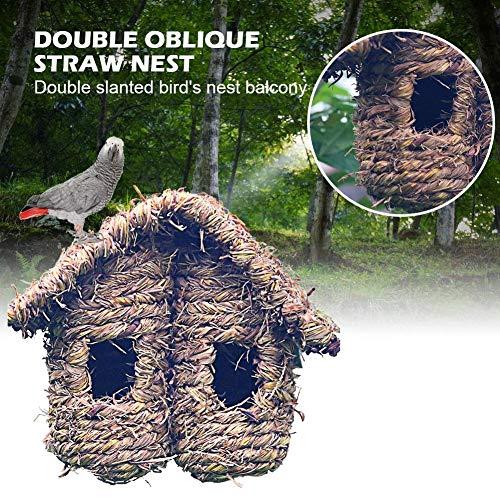 Elementral Doppelhaus Mit Doppeltem Dachhimmel Aus Strohdach Weben Fäulnisbeständig Vogelnest Gehäuse - Spatz/Schlucken/Vogel - Doppelhaus 21x15x18cm