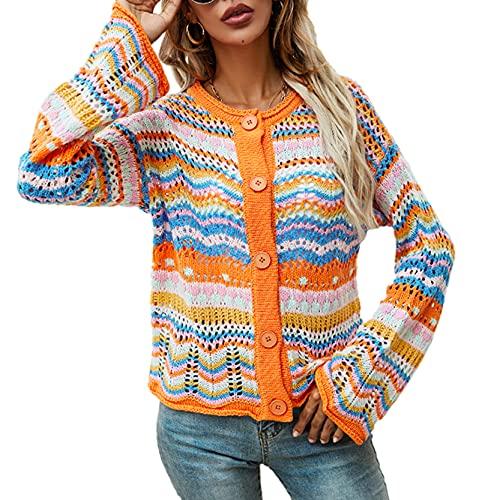 DeuYeng Jersey de punto Y2K para mujer con punto de ganchillo, bloque de color, jersey de manga larga, camisas de patchwork sueltas de los años 90, C-naranja., M