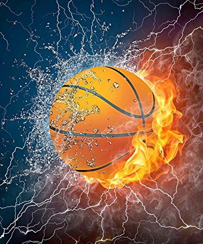 VÄLSON Duschvorhang 180x180 cm Basketball incl. Ringe mit verstärkte Lochleiste & Gewichtsaum Antibakteriell Antischimmel