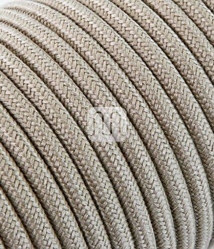 Cable eléctrico redondo revestido de tela de color hilo crudo y arena...