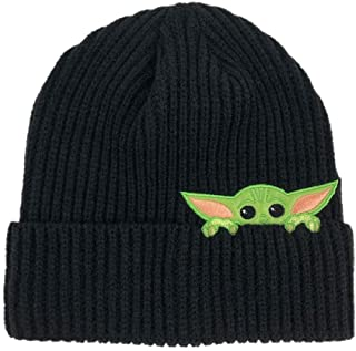 STAR WARS Baby Yoda Beanie - Baby Yoda Peek Beanie, Adjustable - (Unisex, Black)