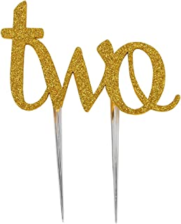 LOVELY BITON Two Birthday Cake Topper Decoration Single Sided Double Gold Glitter