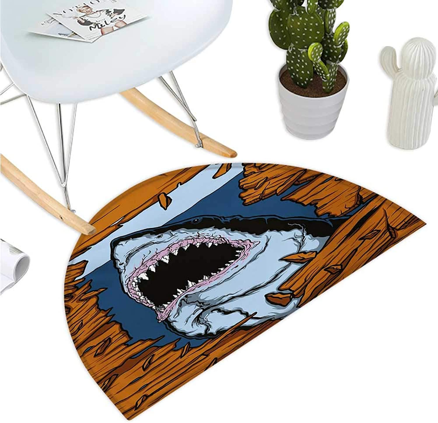Shark Half Round Door mats Wild Fish Breaking Wooden Plank Danger Sign Killer Creature Fun Illustration Bathroom Mat H 35.4  xD 53.1  Ginger Dark bluee