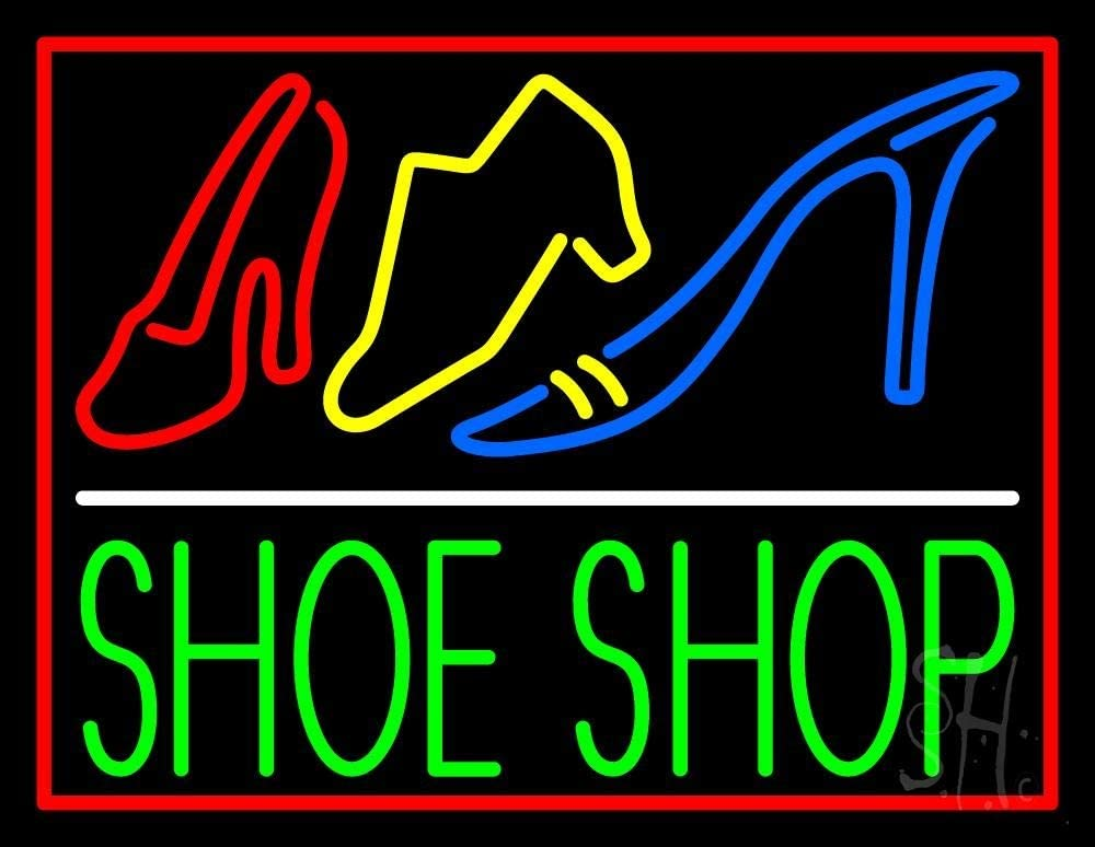 Green Shoe Shop New Orleans Mall With Border LED 4 years warranty Neon - inches 19 x Blac Sign 15