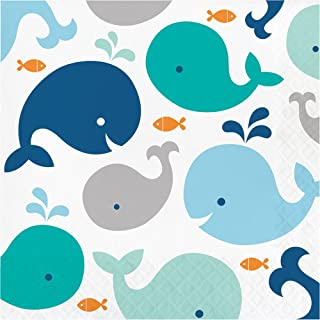 Creative Converting 322197 192 Count Lunch Paper Napkins, Lil' Spout Blue