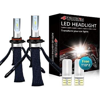 LED Headlight Bulbs Conversion Kit - 4WDKING 9006 HB4 Fanless Copper Braid Heat Dissipation Super Bright Low Beam Fog Light 60W 8000LM 6500K Cool White High Beam with T10 x2