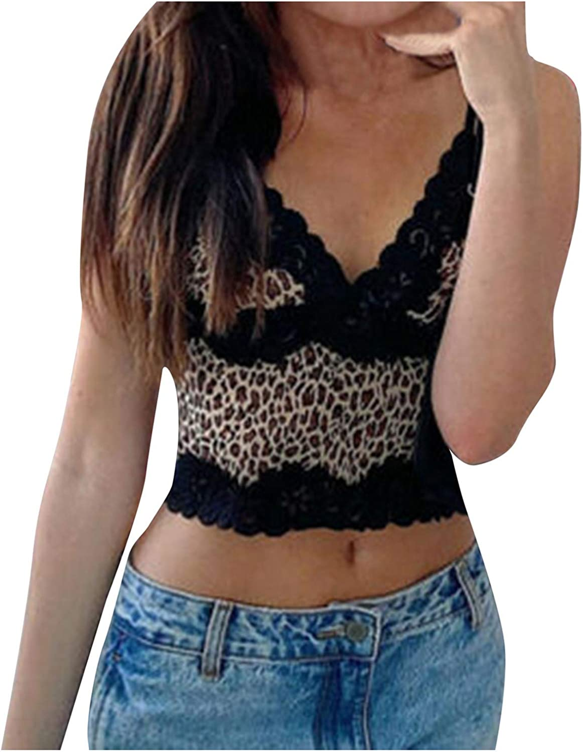 Cami Tops for Women Sexy Leopard Print V Neck Camisole Y2K Fashion Lace Sleeveless Crop Tank Top