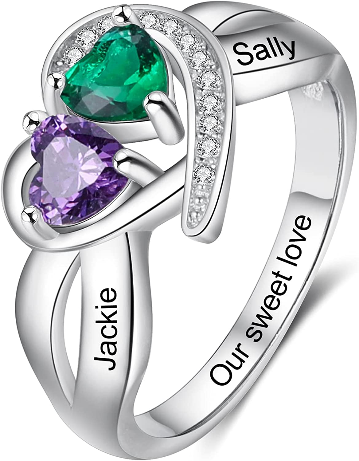 Gemszoo Personalized Name Ring Brand Cheap Sale Venue with Max 45% OFF Heart Birthstone Simulated 2