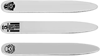Silver Toned Etched Caduceus Medical Symbol Collar Stays