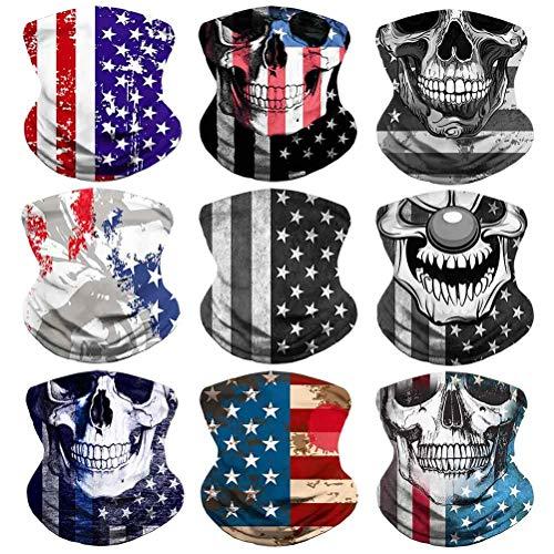 Headband Flag Face Bandana Head Wrap Scarf Neck Warmer Skull Headwear Balaclava for Sports (CO-8)