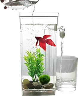 Metermall Self Cleaning Plastic Fish Tank Desktop Aquarium Betta Fishbowl for Office Home Decor square fish tank
