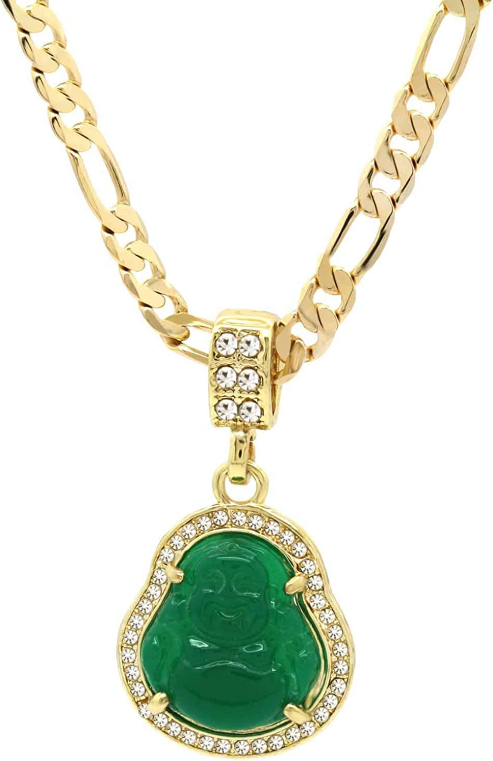 L & L Nation 14K Gold Plated High Fashion Lucky Smiling Buddha Charm Pendant Green Red White Black Blue On Figaro Chain