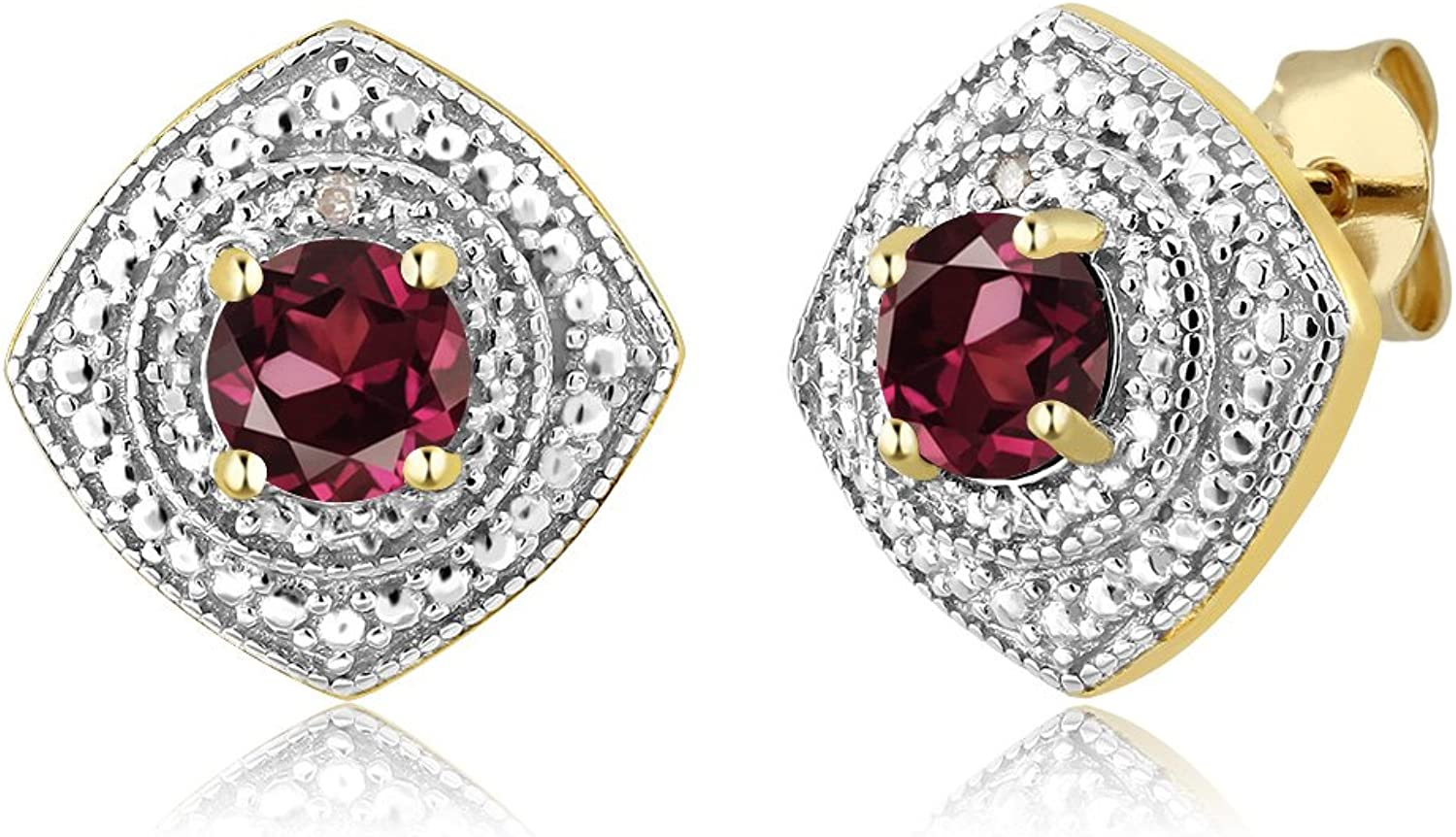 1.20 Ct Rhodolite Garnet with Diamond Accent 18K Yellow gold Plated Silver Studs