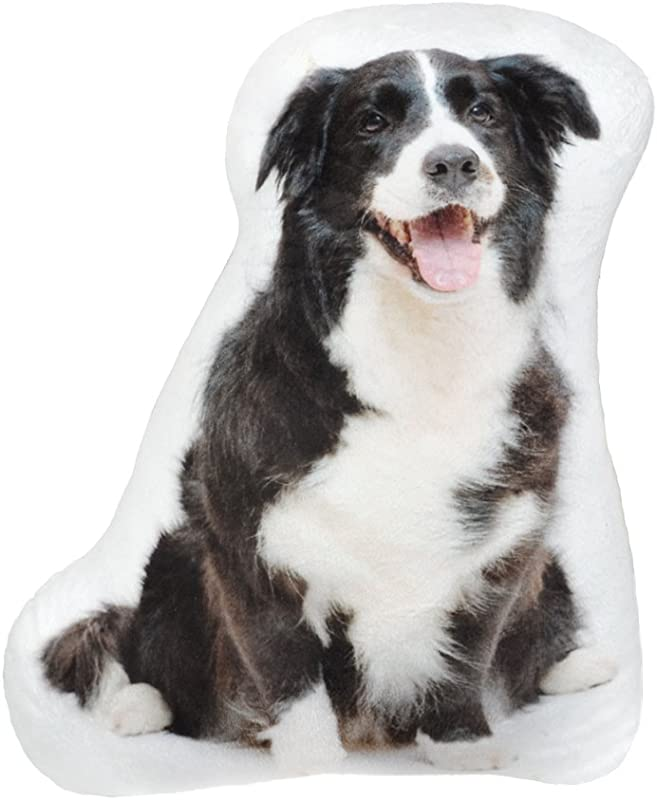 JWH 3D Dogs Accent Pillow Digital Print Cushion Decorative Stuffed Toy Home Sofa Car Bed Living Room Children Boy Gift Border Collie 14 X 12 Inch