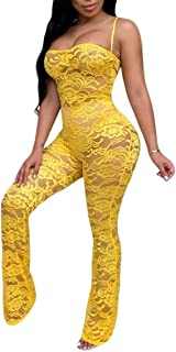 2b13a6d25c6 Chemenwin Women s Sexy Sleeveless Spaghetti Strap Floral Lace Long Pants  Bodycon Clubwear Jumpsuit Rompers