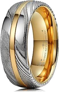 damascus steel wood inlay ring