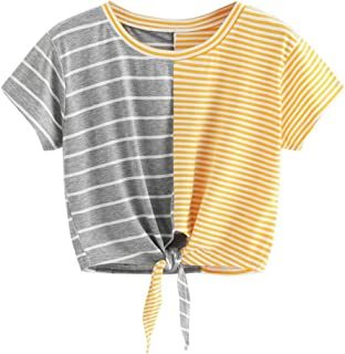 94d95fc1ad311 Elogoog Women s Cute Bowknot Crop Tops Short Sleeve Mini Round Neck Stripes  Patchwork T-Shirt