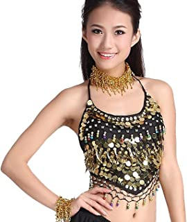 ZLTdream Lady's Belly Dance Chiffon Banadge Top with Chest Pad Hanging Bells and Coins