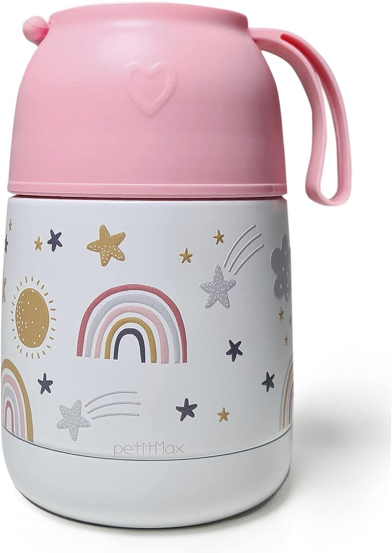 Petitmax: Termo De Acero Inoxidable Para Comida Caliente Solidos Bebe Sin BPA Con Cuchara Plegable Y Taza (Rosa Arcoiris)