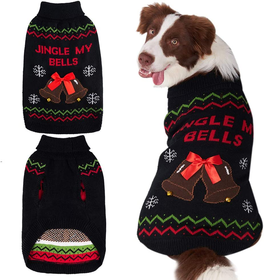 Mihachi Christmas Dog Our shop OFFers Inexpensive the best service Sweater with Pattern Bells Snowflake Winte