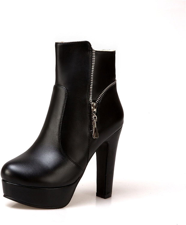 DoraTasia Superfine Fiber Ankle Calf Thick Heel Metal Pentant Women's Platform Boots