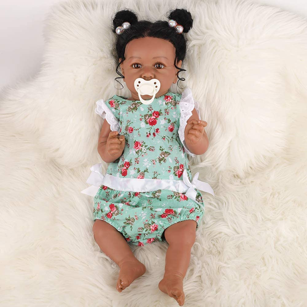 HOOMAI Handmade Reborn Baby Girl Real Life Full Silicone Vinyl Body 22.8 Realistic Newborn Cute Doll Best Birthday Gift Set for Ages 3+