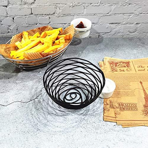T1 Hierro forjado fruta portátil cesta de almacenamiento pan fritas fritas bocadillos fritos cesta portátil pequeño alambre sucio