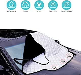 FEZZ Car Front Windshield Sunshade Cover Magnetic Windscreen Anti-UV Sun Shade Frost Ice Wind Snow Proof Protector Black with Side Mirror Cover 215*125cm for Cars SUV Truck
