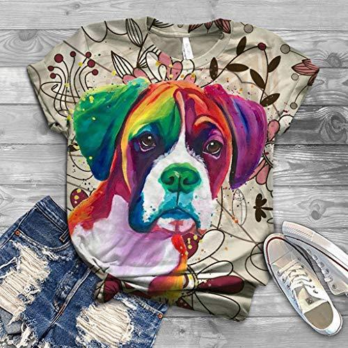 DNOQN Übergröße Frauen Kurzarm 3D Tier Tie-Dye Gedruckt T-Shirt O-Ausschnitt Große Größen Tops Tee Mode Lässige Lustig Bedrucktes Kurz Ärmel T-Shirt Bluse Tunika Lässige Blusentop Baumwollshirt