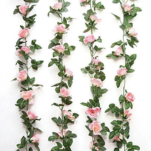Romote Künstliche Rosen-Girlande, künstliche Blumen(4,9m lang) für Hotel, Hochzeit, Heim, Party, Garten, Heimwerken, Dekoration, Farbe: Rosa, 2 Stück