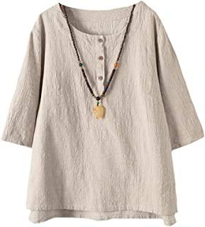 Women's 3/4 Sleeve Cotton Linen Jacquard Blouses Top T-Shirt