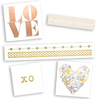 ROMANTIC RENDEZVOUS VARIETY SET includes 25 assorted premium waterproof metallic gold & multi-colored Valentine's Day inspired jewelry temporary foil party tattoos - party supplies