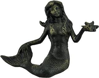 Zeckos Sitting Mermaid Holding Starfish Deep Green Verdigris Finish Cast Iron Statue