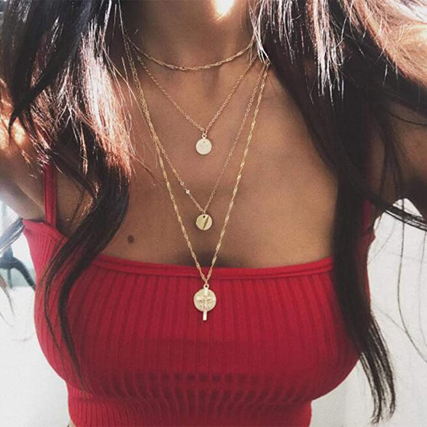 Chargances Bohemia Gold Four Layered Necklace Cross Disc Pendant Delicate Gold Choker Set Multi layer Chain for Women Beads Leaf Jewelry Delicate Handmade Gold Jewelry Gift for Women and Girls