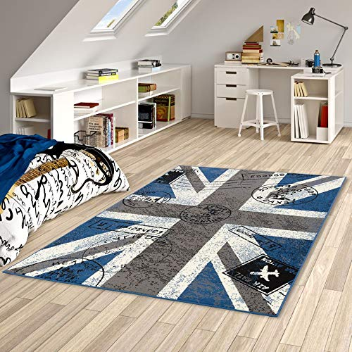 Pergamon Trendline - Alfombra Moderna - Union Jack Azul Gris - 5 tamaños