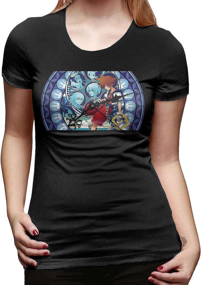 StephaSport Kingdom Hearts Womans Round Neck Cotton Short Sleeve Standard T-Shirt Black