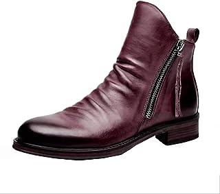MAIAMY Hommes Bottines Bout Pointu Portable Fermeture éclair Chaussures en Cuir Automne Hiver léger antidérapant Haut Haut...