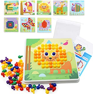 Here Fashion Pack of 251 Button Art Toy for Toddler, Animal Matching Early Learning Educational Mosaic Pegboard, DIY Color Learning STEM Educational Toys for Age 3+