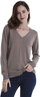 DEEBAI Women's 100% Cotton V Neck Sweater Soft Long Sleeve Knit Pullover Sweatshirt