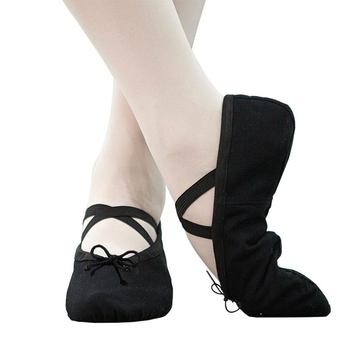 超えて天井松IDream バレエシューズ バレエ用品 バレエ靴 キャンバス製 布製 つま先レザー 子ども 大人 初心者 練習用 ブラック20.0㎝~25㎝